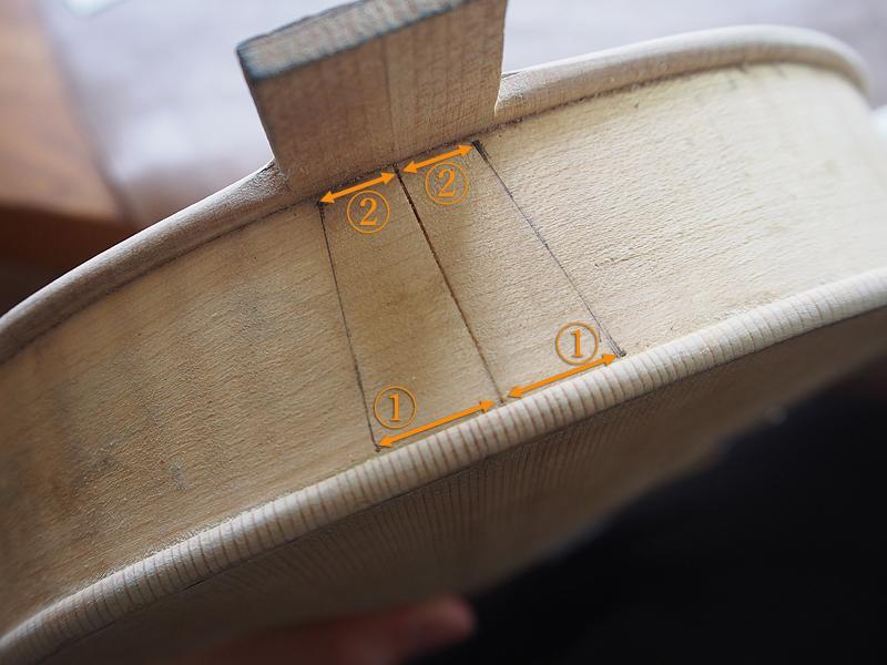 ヴァイオリン製作 ボディ ネック