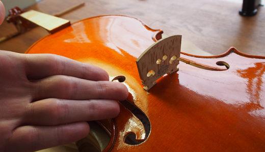 【ヴァイオリン製作】魂柱立て/指板接着/駒調整